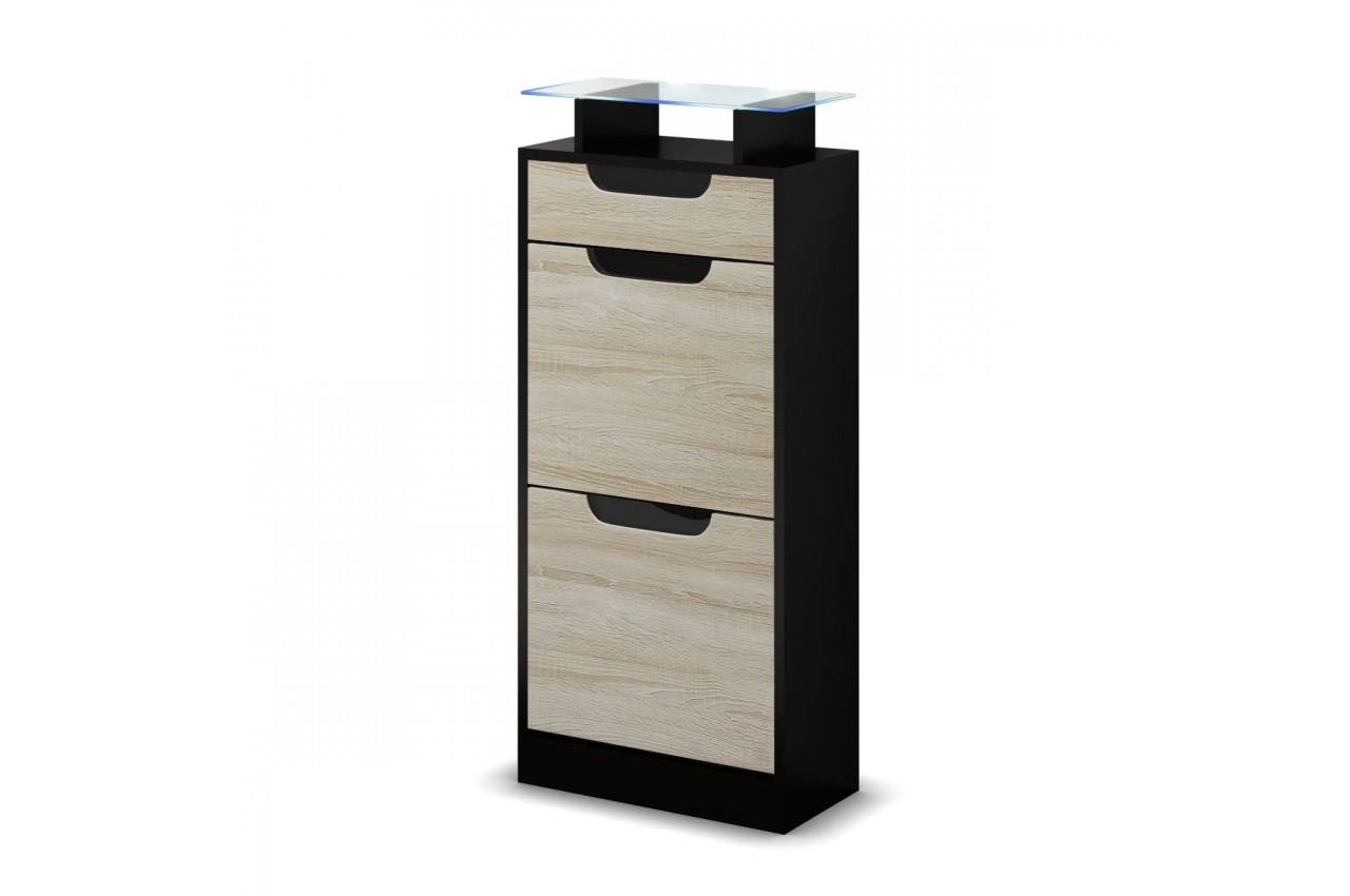 petit meuble range chaussures pas cher 2 portes 1 tiroir. Black Bedroom Furniture Sets. Home Design Ideas