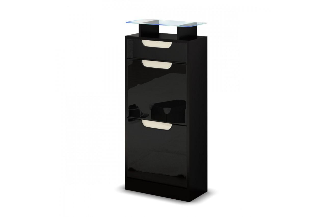 Petit meuble range chaussures pas cher 2 portes 1 tiroir - Meuble chaussures noir ...