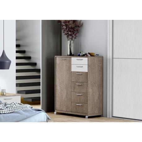 Commode chêne/blanc structuré 6 tiroirs - 1 porte BAIX 104