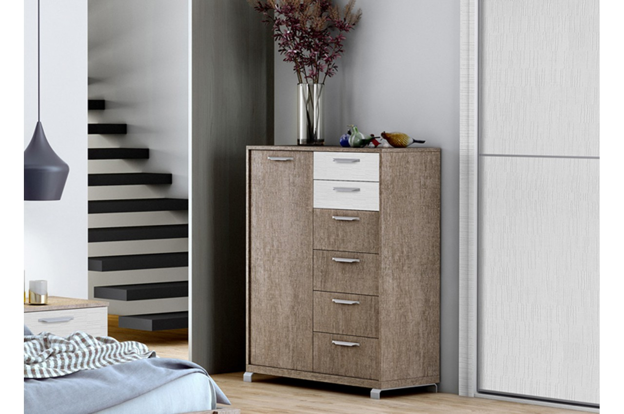 Commode ch ne blanc structur 6 tiroirs 1 porte baix 104 cbc meubles for Commode chambre adulte