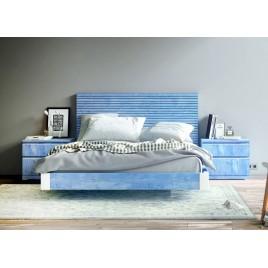 Lit Bleu 160x200 + Tête de lit + Chevets BAIX 107