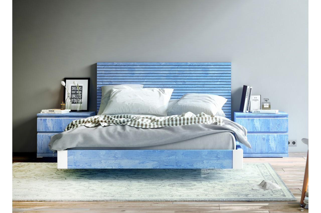 lit bleu 160x200 t te de lit chevets baix 107 cbc meubles. Black Bedroom Furniture Sets. Home Design Ideas