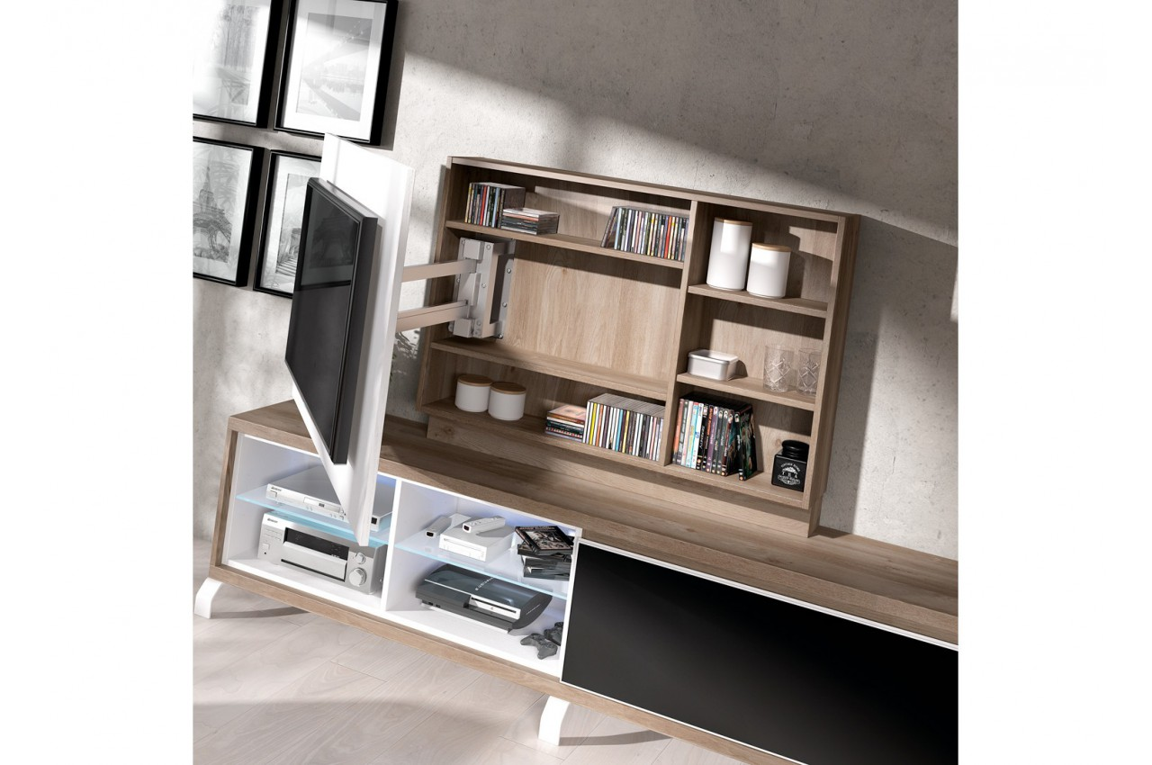 meuble tv panneau tv rotatif aden 2909 cbc meubles. Black Bedroom Furniture Sets. Home Design Ideas