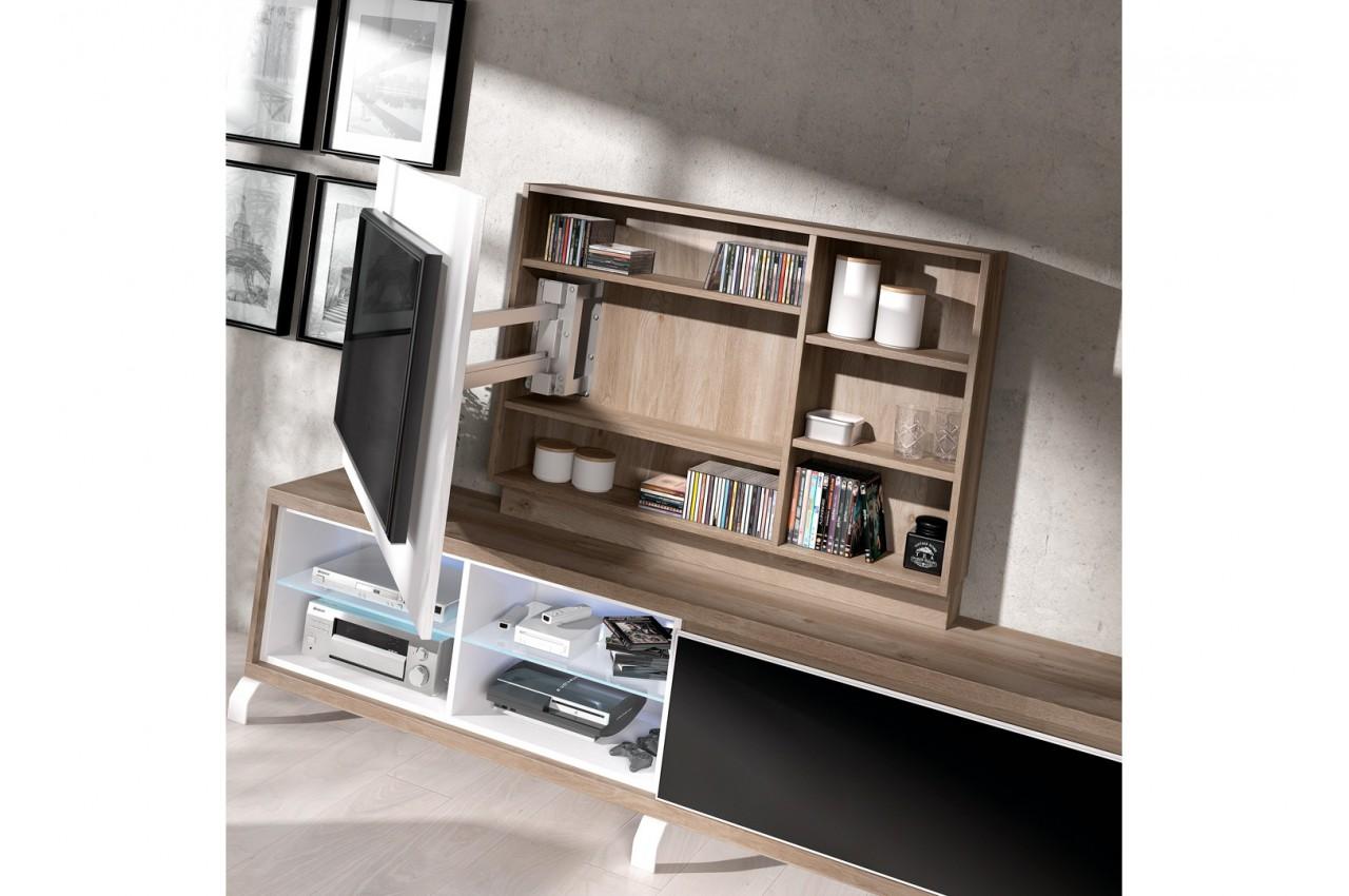 Panneau Mural Derriere Tv meuble tv + panneau tv rotatif aden 2909 - cbc-meubles