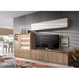Meuble TV Contemporain en Bois d'Acacia ADEN 2917