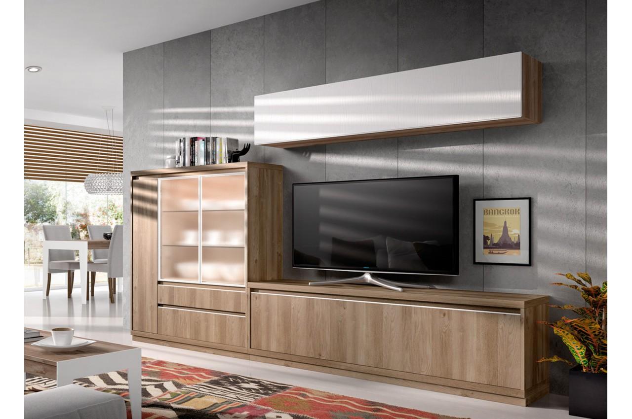 Meuble tv contemporain en bois d 39 acacia aden 2917 cbc meubles - Meuble tv contemporain bois ...