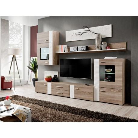 Ensemble tv bois et blanc moderne panama cbc meubles - Meuble tv mural bois ...