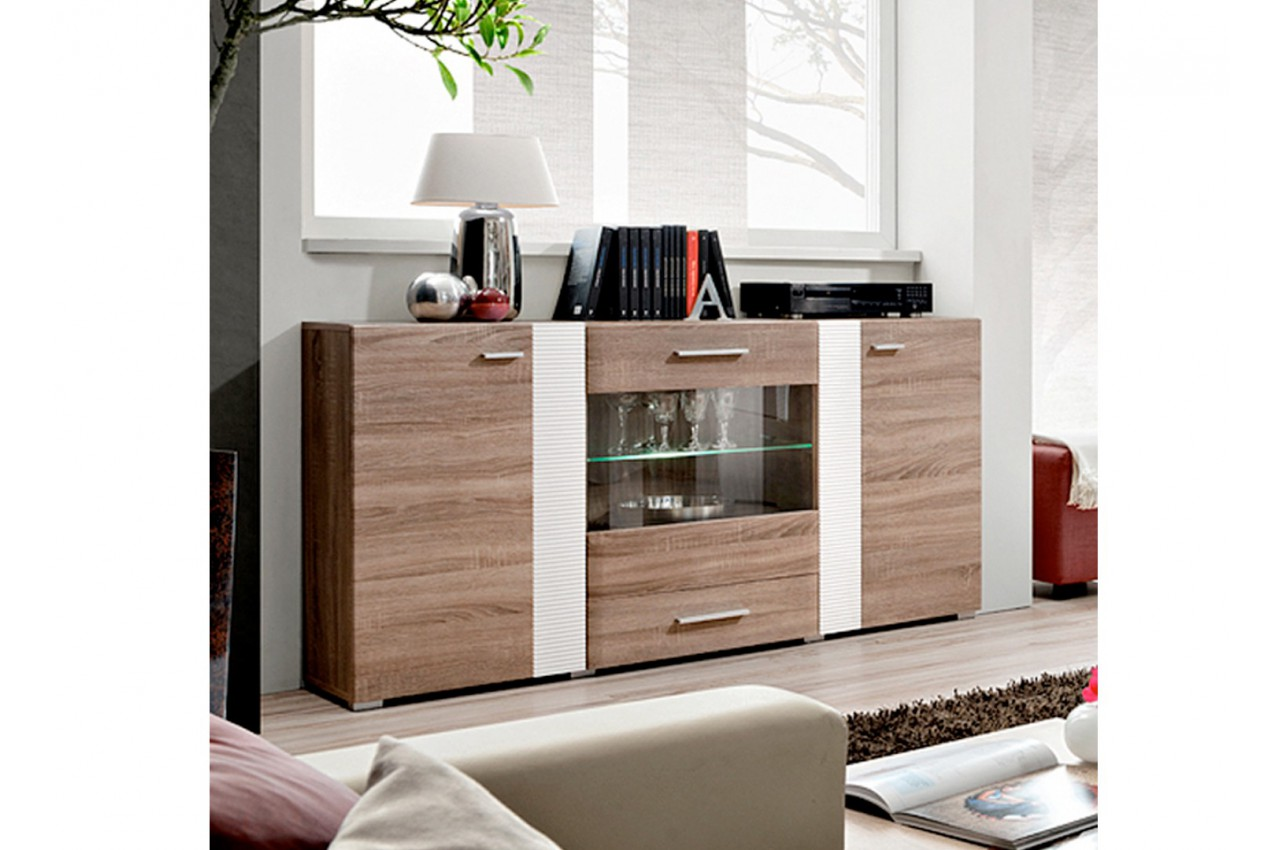 buffet en bois et blanc moderne panama cbc meubles. Black Bedroom Furniture Sets. Home Design Ideas