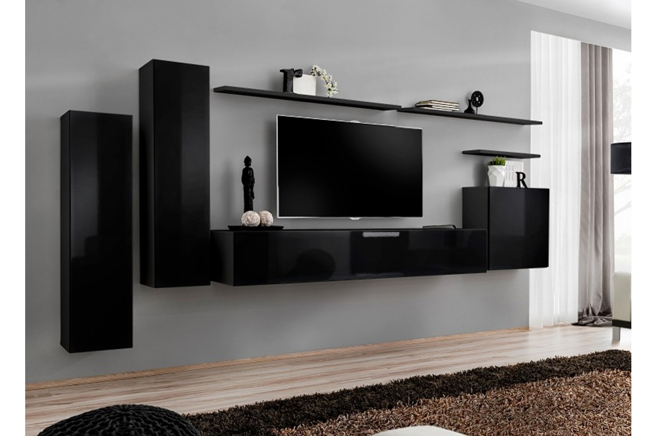 ensemble tv mural laqu costa 1 cbc meubles. Black Bedroom Furniture Sets. Home Design Ideas