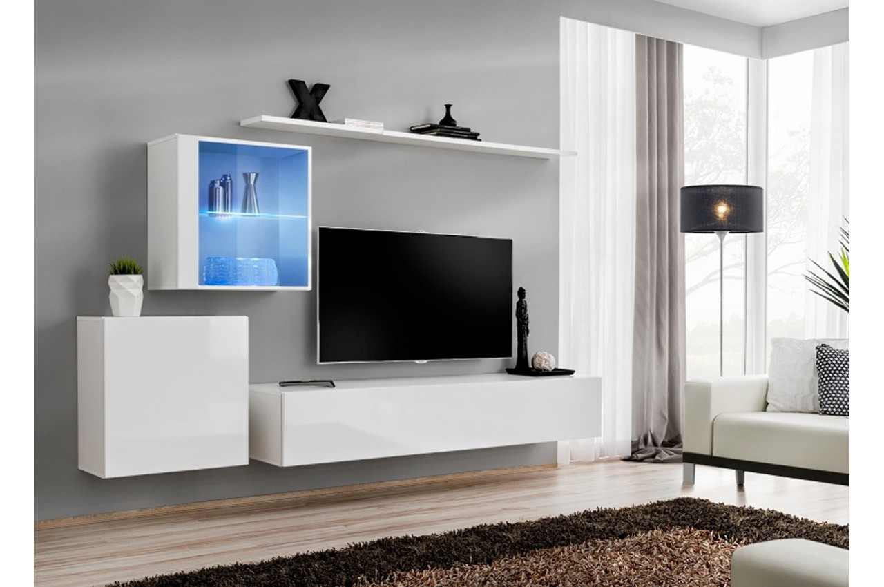 Ensemble meuble tv design costa 15 cbc meubles for Composition meuble tv design