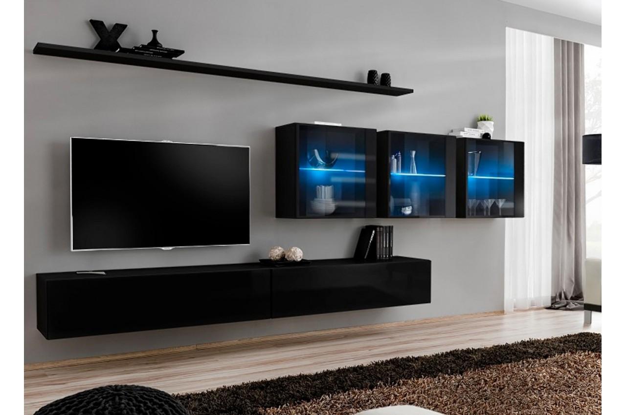 Meuble tv ensemble mural laqu costa 17 cbc meubles for Meuble mural laque