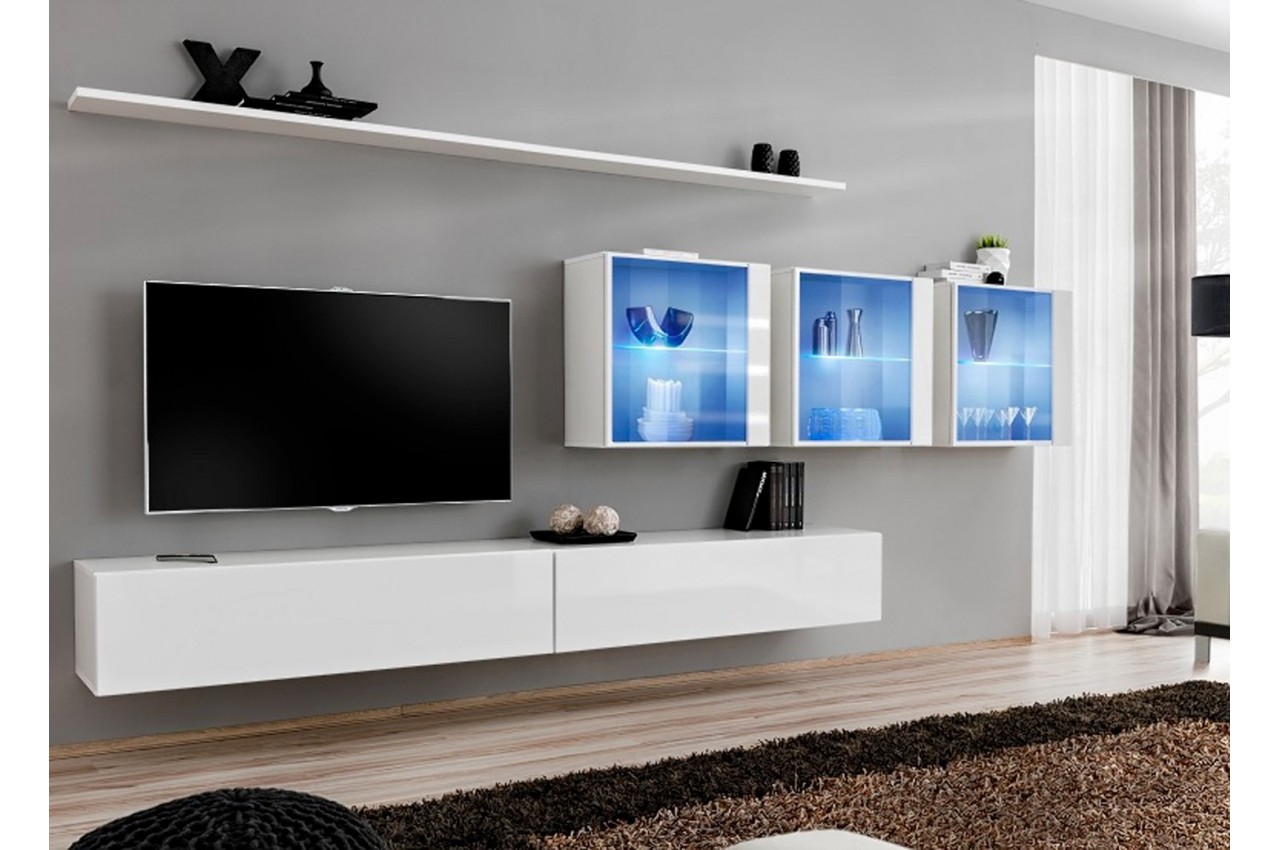 meuble tv ensemble mural laqu costa 17 cbc meubles. Black Bedroom Furniture Sets. Home Design Ideas