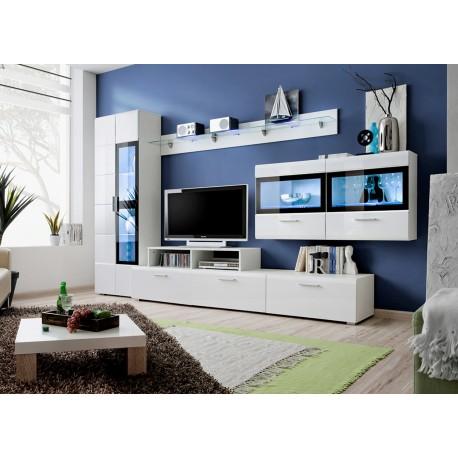 Meuble TV Led Blanc Laqué ELFY 4