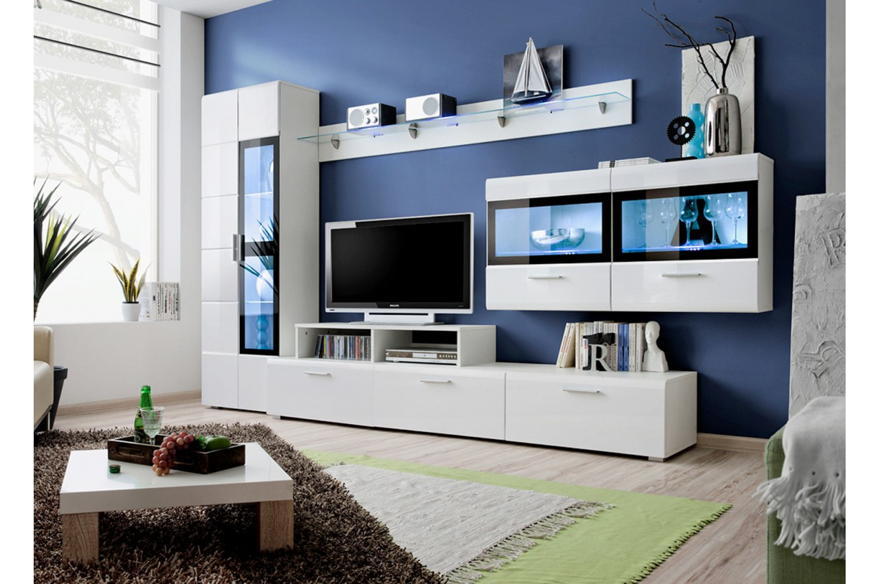 Meuble tv led blanc laqu elfy 4 cbc meubles for Meuble tele design