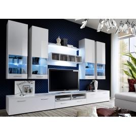 Ensemble TV Mural Blanc ou Noir Laqué PACO