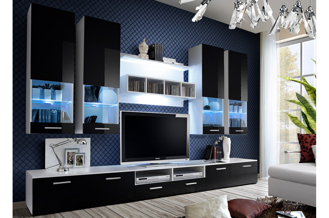 ensemble tv mural blanc ou noir laqu paco cbc meubles. Black Bedroom Furniture Sets. Home Design Ideas