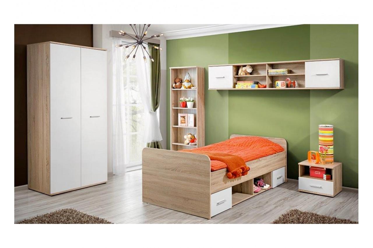 Chambre enfant ch ne blanc daro 1 cbc meubles for Ameublement de chambre