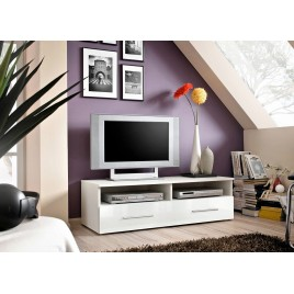 Meuble Télé 120 cm Blanc Laqué RUBBY