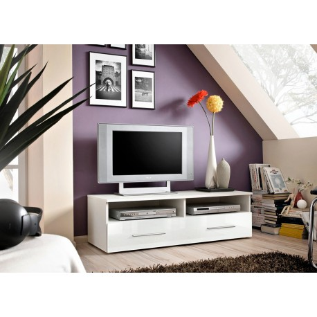 meuble t l 120 cm blanc laqu rubby cbc meubles. Black Bedroom Furniture Sets. Home Design Ideas