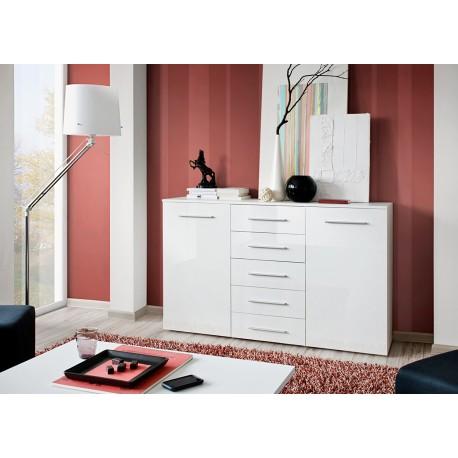 meuble buffet blanc laqu 2 portes 5 tiroirs buck cbc. Black Bedroom Furniture Sets. Home Design Ideas