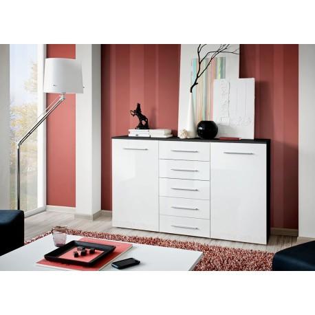 meuble buffet noir blanc laqu 2 portes 5 tiroirs buck. Black Bedroom Furniture Sets. Home Design Ideas
