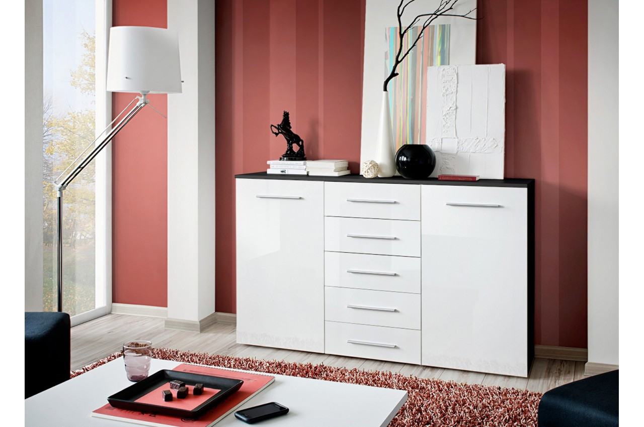 meuble buffet noir blanc laqu 2 portes 5 tiroirs buck cbc meubles. Black Bedroom Furniture Sets. Home Design Ideas