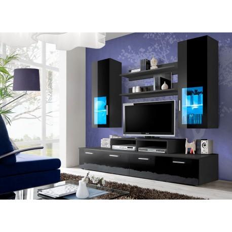 Meuble tv led noir laqu marty cbc meubles for Meuble tv mural noir laque