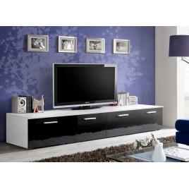 Meuble TV Bas Long Blanc et Noir Laqué MARTY 1