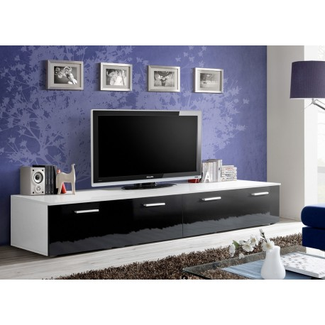 meuble tv bas long blanc et noir laqu marty 1 cbc meubles. Black Bedroom Furniture Sets. Home Design Ideas