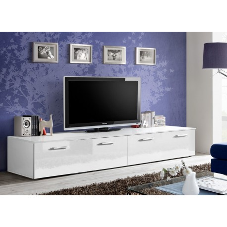 meuble tv long blanc laqu marty 1 cbc meubles. Black Bedroom Furniture Sets. Home Design Ideas