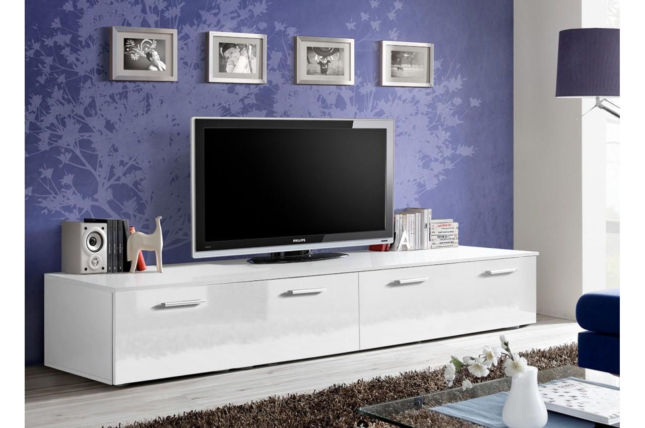 meuble tv long blanc laqu marty 1 cbc meubles. Black Bedroom Furniture Sets. Home Design Ideas
