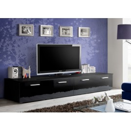 Banc TV Long 2 m Noir Laqué MARTY 1