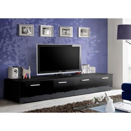 Banc TV Long 2 m Noir Laqué MARTY 1  CbcMeubles -> Banc Tv Long