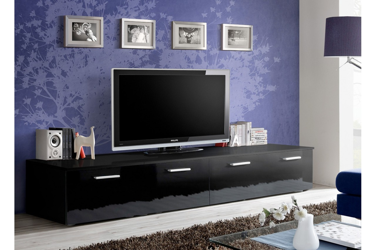 banc tv long 2 m noir laqu marty 1 cbc meubles