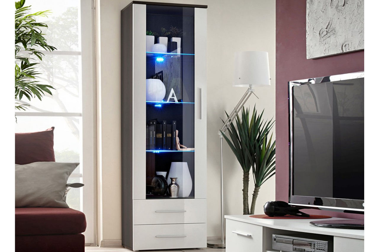 meuble vitrine 1 porte 2 tiroirs weng cliff cbc meubles. Black Bedroom Furniture Sets. Home Design Ideas
