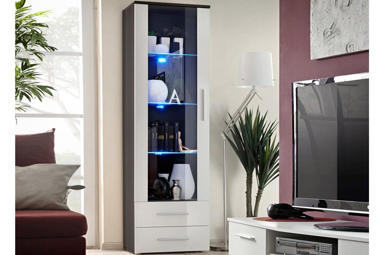 Meuble vitrine 1 porte 2 tiroirs weng cliff cbc meubles - Meuble salon wenge ...