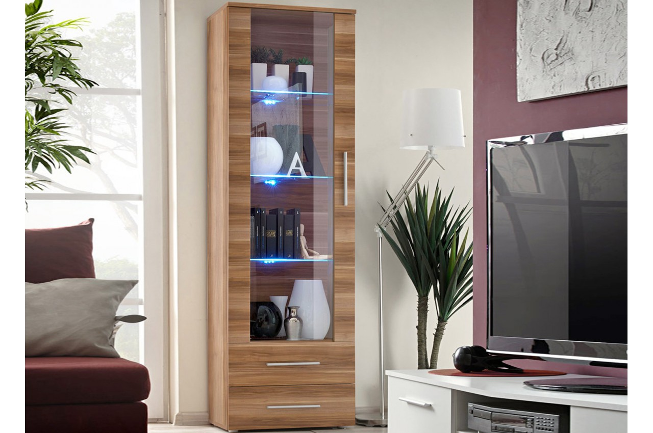 vitrine de salon avec led noyer am ricain cliff cbc meubles. Black Bedroom Furniture Sets. Home Design Ideas