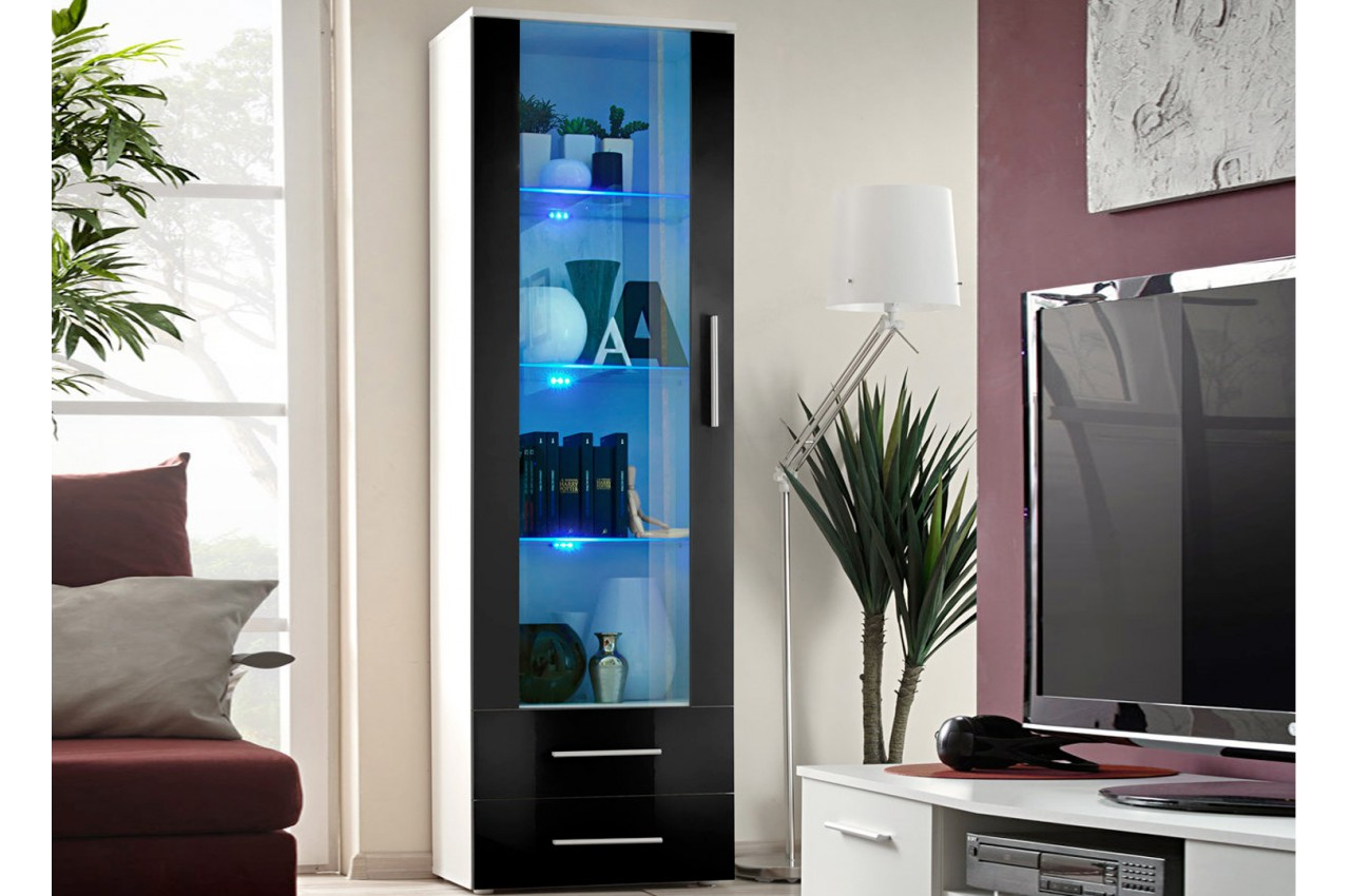 meuble vitrine de salon avec clairage lumineux cliff cbc meubles. Black Bedroom Furniture Sets. Home Design Ideas