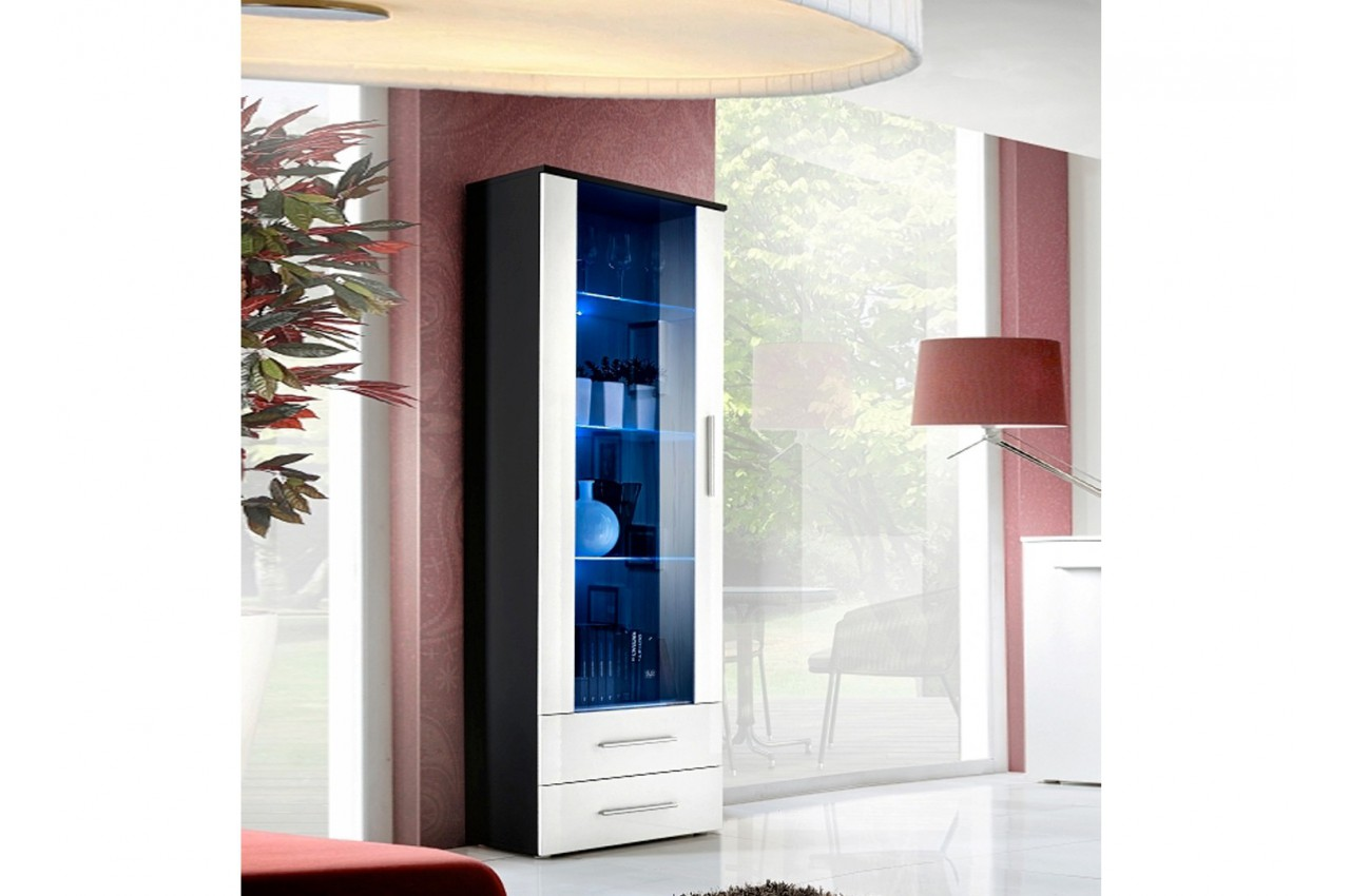 vitrine haute avec clairage lumineux cliff cbc meubles. Black Bedroom Furniture Sets. Home Design Ideas