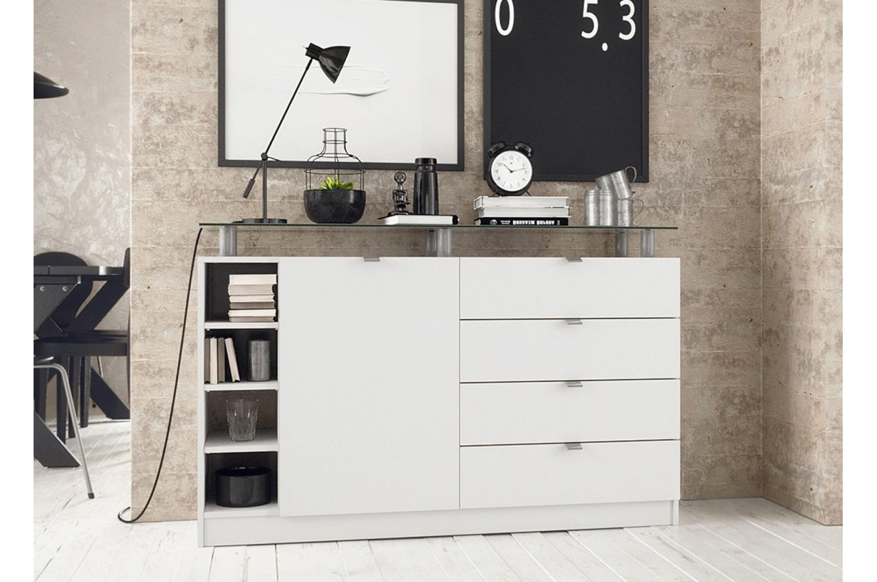 buffet blanc pas cher dave cbc meubles. Black Bedroom Furniture Sets. Home Design Ideas