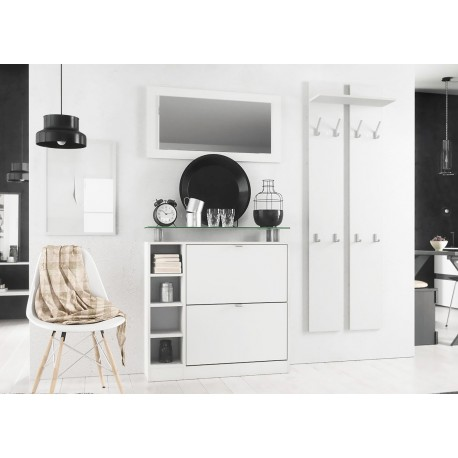 ensemble entr e blanc pas cher dave cbc meubles. Black Bedroom Furniture Sets. Home Design Ideas