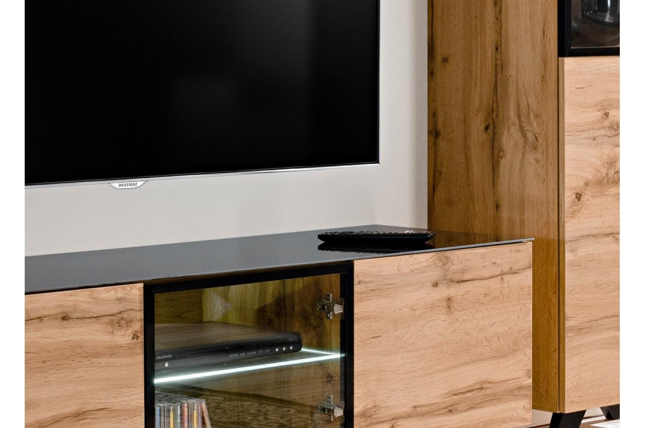 Meuble tv ensemble bois et verre jao cbc meubles for Meuble salon ensemble