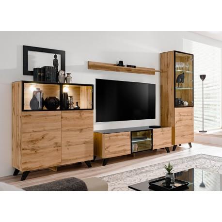 Meuble tv ensemble bois et verre jao cbc meubles for Meuble tv a suspendre