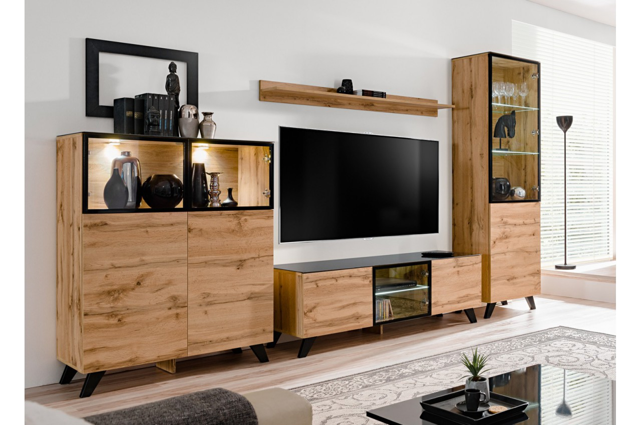 meuble tv ensemble bois et verre jao cbc meubles. Black Bedroom Furniture Sets. Home Design Ideas