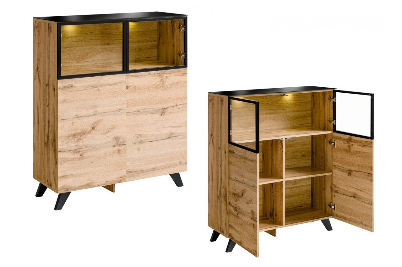 petit buffet haut en bois et verre avec clairage jao. Black Bedroom Furniture Sets. Home Design Ideas
