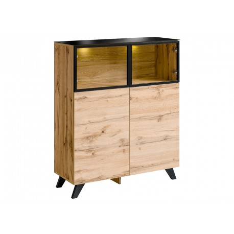 petit buffet haut en bois et verre avec clairage jao cbc meubles. Black Bedroom Furniture Sets. Home Design Ideas
