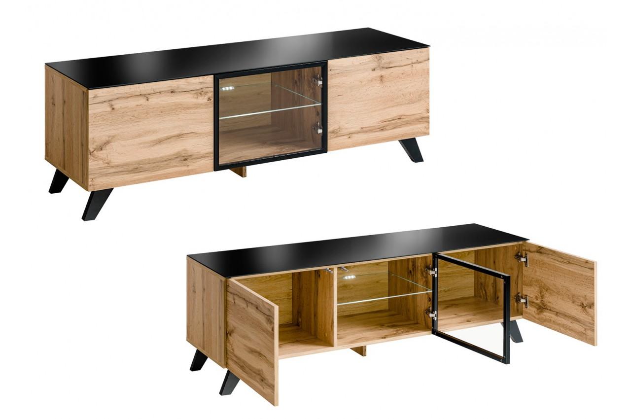 meuble t l bas en bois et verre avec led jao cbc meubles. Black Bedroom Furniture Sets. Home Design Ideas