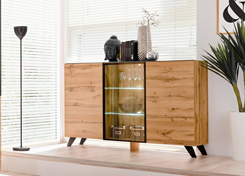 Haut De Buffet Vitré buffet en bois et verre avec Éclairage led jao - cbc-meubles