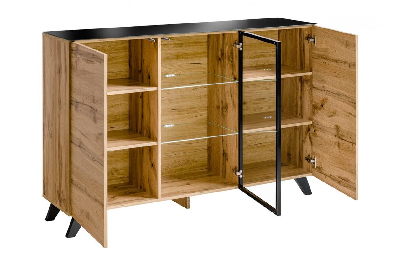 buffet en bois et verre avec clairage led jao cbc meubles. Black Bedroom Furniture Sets. Home Design Ideas
