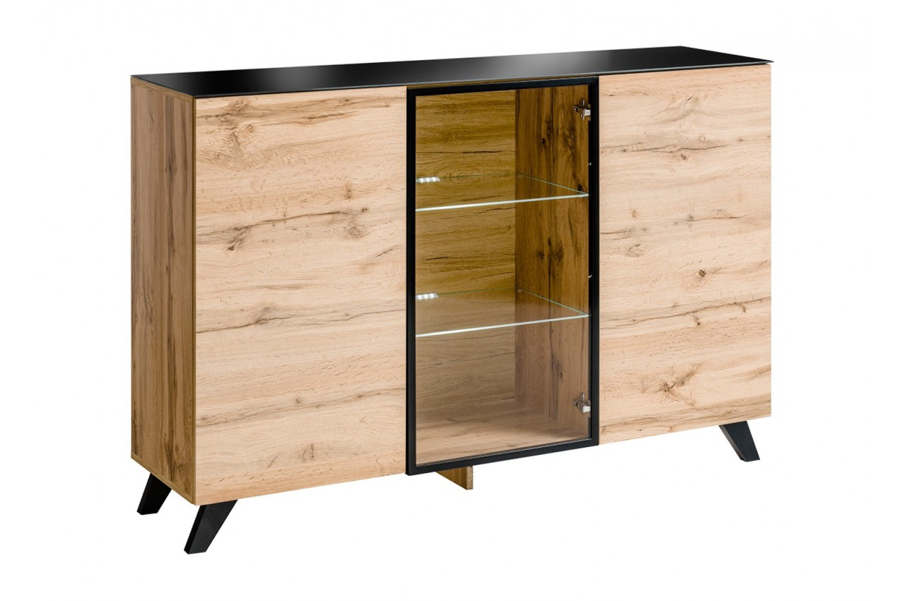 buffet en bois et verre avec clairage led jao cbc meubles. Black Bedroom Furniture Sets. Home Design Ideas